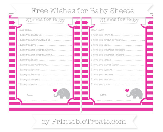 Free Hot Pink Horizontal Striped Baby Elephant Wishes for Baby Sheets