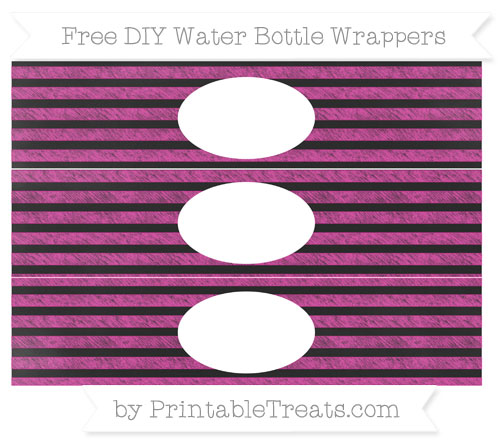 Free Hot Pink Horizontal Striped Chalk Style DIY Water Bottle Wrappers
