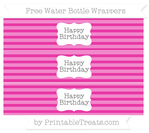 Free Hot Pink Horizontal Striped Happy Birhtday Water Bottle Wrappers