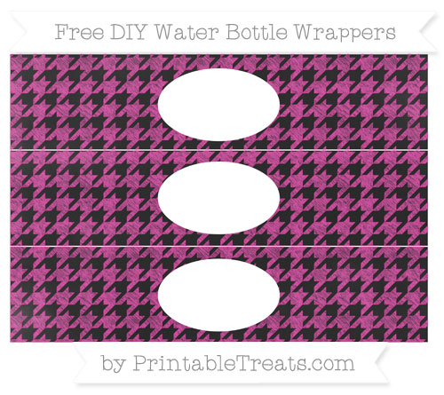 Free Hot Pink Houndstooth Pattern Chalk Style DIY Water Bottle Wrappers