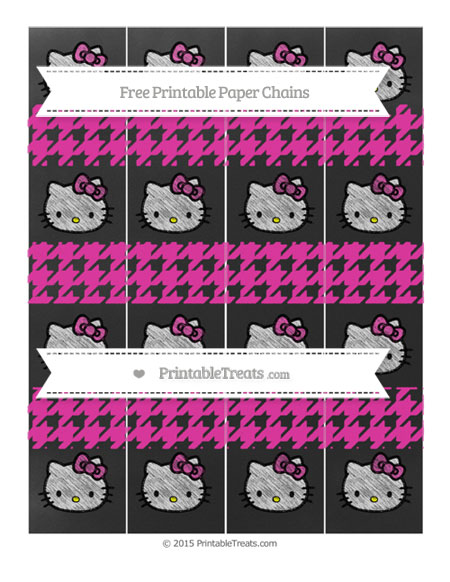 Free Hot Pink Houndstooth Pattern Chalk Style Hello Kitty Paper Chains