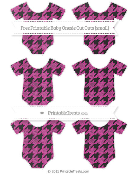 Free Hot Pink Houndstooth Pattern Chalk Style Small Baby Onesie Cut Outs