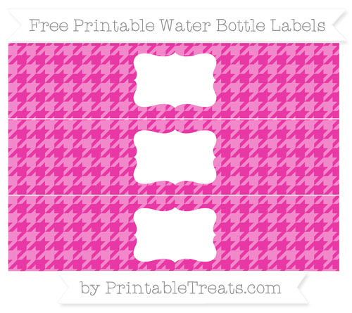 Free Hot Pink Houndstooth Pattern Water Bottle Labels