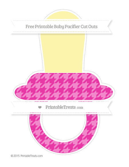 Free Hot Pink Houndstooth Pattern Extra Large Baby Pacifier Cut Outs