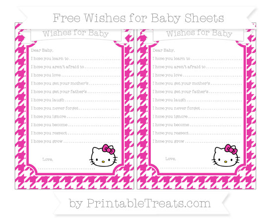 Free Hot Pink Houndstooth Pattern Hello Kitty Wishes for Baby Sheets