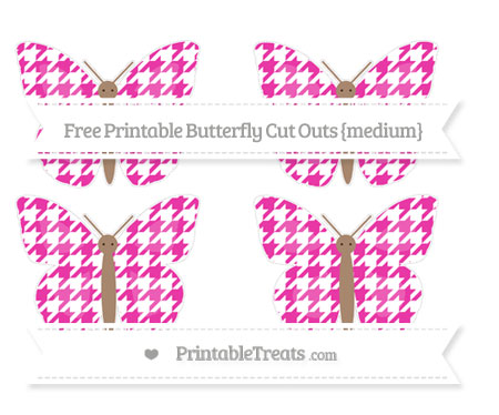 Free Hot Pink Houndstooth Pattern Medium Butterfly Cut Outs