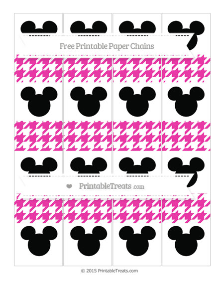 Free Hot Pink Houndstooth Pattern Mickey Mouse Paper Chains