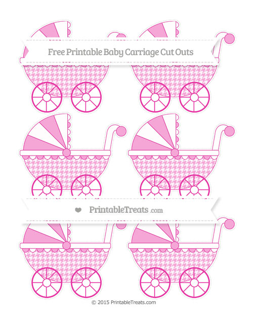Free Hot Pink Houndstooth Pattern Small Baby Carriage Cut Outs