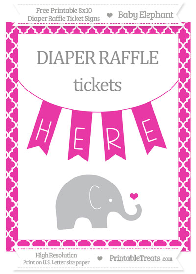 Free Hot Pink Moroccan Tile Baby Elephant 8x10 Diaper Raffle Ticket Sign