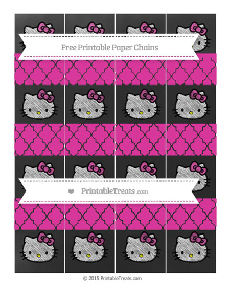 Free Hot Pink Moroccan Tile Chalk Style Hello Kitty Paper Chains