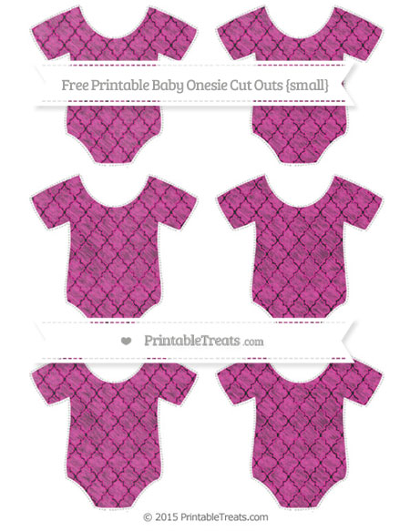 Free Hot Pink Moroccan Tile Chalk Style Small Baby Onesie Cut Outs