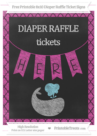 Free Hot Pink Moroccan Tile Chalk Style Whale 8x10 Diaper Raffle Ticket Sign