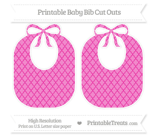 Free Hot Pink Moroccan Tile Large Baby Bib Cut Outs
