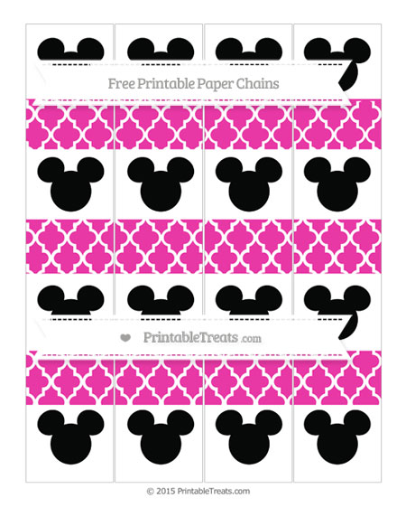 Free Hot Pink Moroccan Tile Mickey Mouse Paper Chains