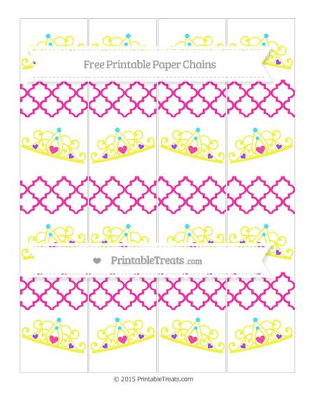 Free Hot Pink Moroccan Tile Princess Tiara Paper Chains