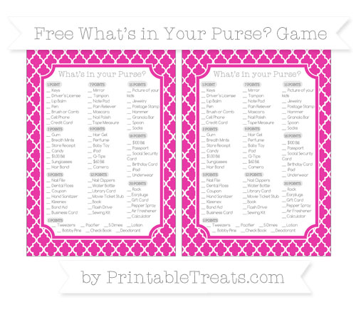 Free Hot Pink Moroccan Tile What's in Your Purse Baby Shower Game