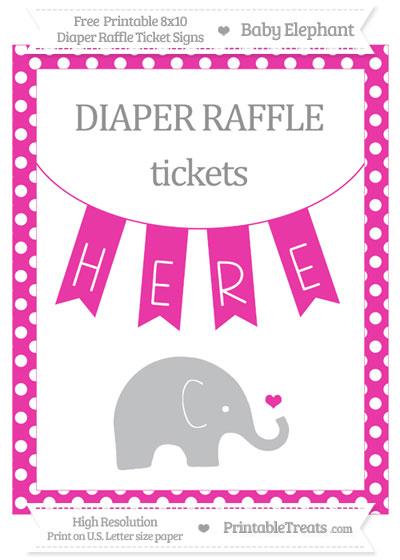 Free Hot Pink Polka Dot Baby Elephant 8x10 Diaper Raffle Ticket Sign