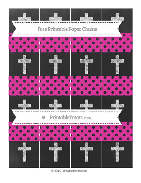 Free Hot Pink Polka Dot Chalk Style Cross Paper Chains