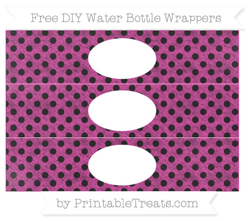 Free Hot Pink Polka Dot Chalk Style DIY Water Bottle Wrappers