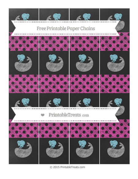 Free Hot Pink Polka Dot Chalk Style Whale Paper Chains
