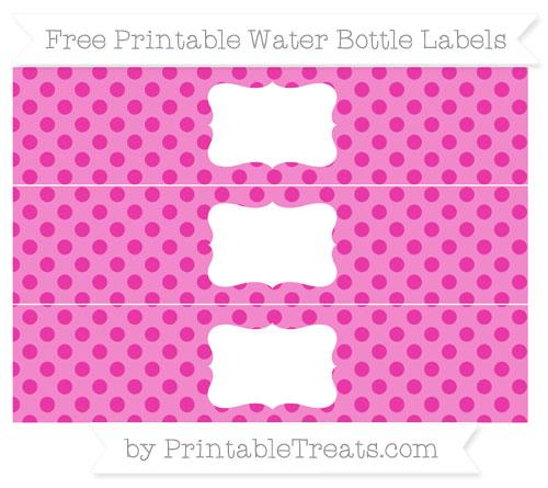Free Hot Pink Polka Dot Water Bottle Labels