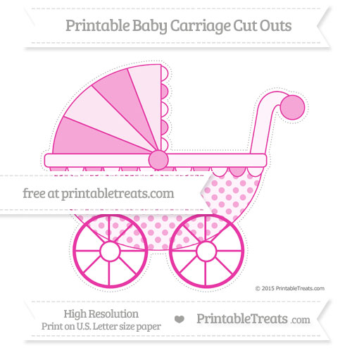 Free Hot Pink Polka Dot Extra Large Baby Carriage Cut Outs