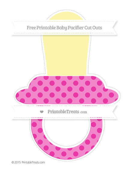 Free Hot Pink Polka Dot Extra Large Baby Pacifier Cut Outs