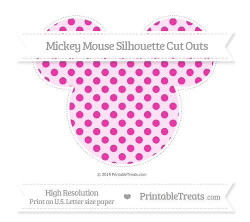 Free Hot Pink Polka Dot Extra Large Mickey Mouse Silhouette Cut Outs