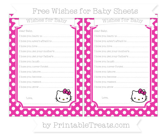 Free Hot Pink Polka Dot Hello Kitty Wishes for Baby Sheets