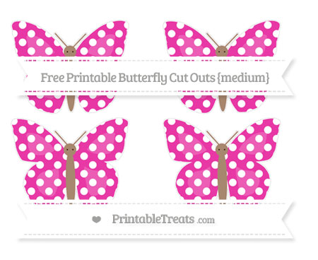 Free Hot Pink Polka Dot Medium Butterfly Cut Outs