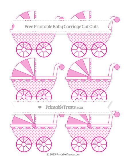 Free Hot Pink Polka Dot Small Baby Carriage Cut Outs