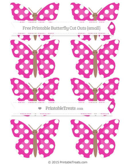 Free Hot Pink Polka Dot Small Butterfly Cut Outs
