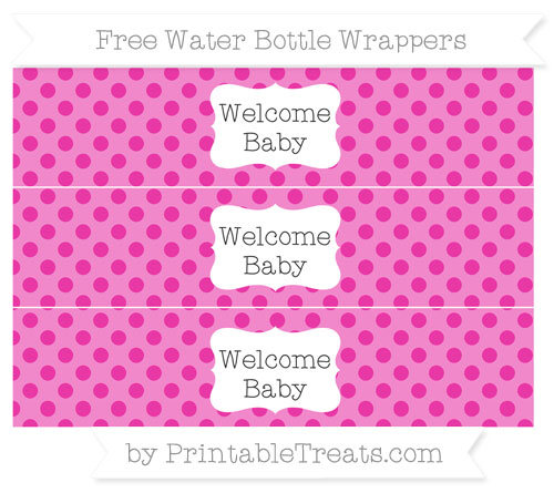 Free Hot Pink Polka Dot Welcome Baby Water Bottle Wrappers