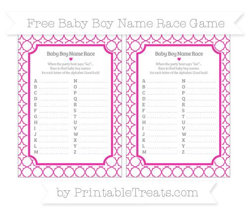 Free Hot Pink Quatrefoil Pattern Baby Boy Name Race Game
