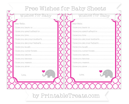 Free Hot Pink Quatrefoil Pattern Baby Elephant Wishes for Baby Sheets