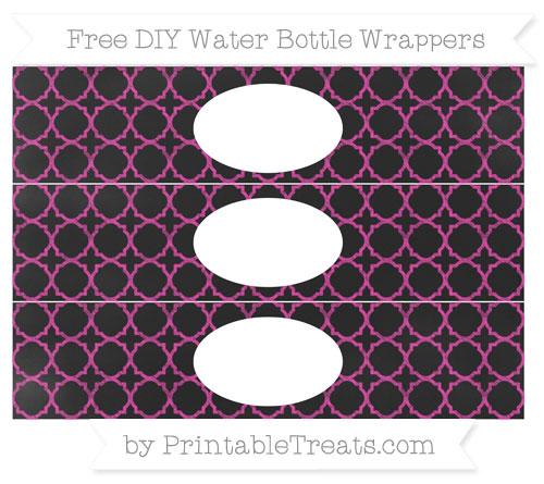 Free Hot Pink Quatrefoil Pattern Chalk Style DIY Water Bottle Wrappers