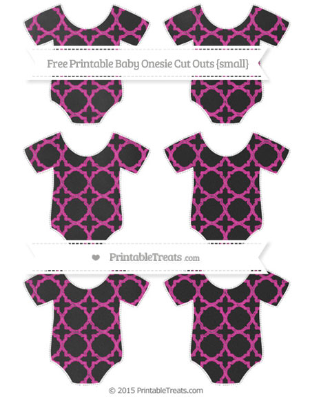 Free Hot Pink Quatrefoil Pattern Chalk Style Small Baby Onesie Cut Outs