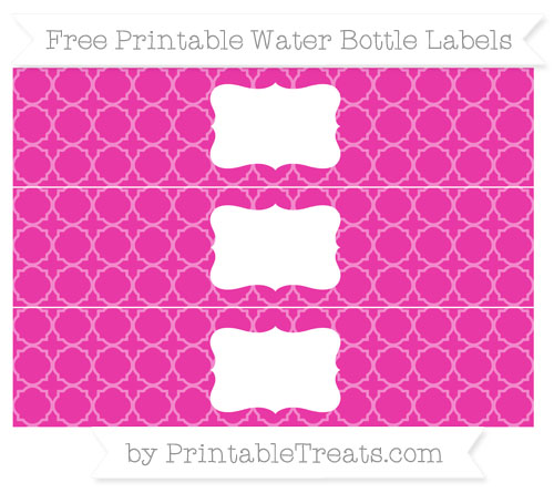 Free Hot Pink Quatrefoil Pattern Water Bottle Labels