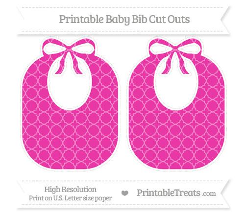 Free Hot Pink Quatrefoil Pattern Large Baby Bib Cut Outs