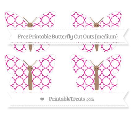 Free Hot Pink Quatrefoil Pattern Medium Butterfly Cut Outs