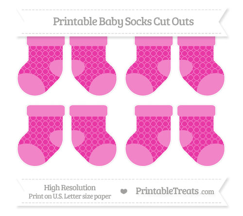Free Hot Pink Quatrefoil Pattern Small Baby Socks Cut Outs