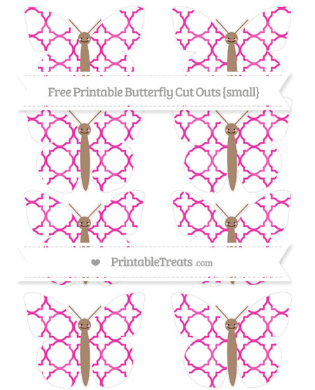 Free Hot Pink Quatrefoil Pattern Small Smiley Butterfly Cut Outs