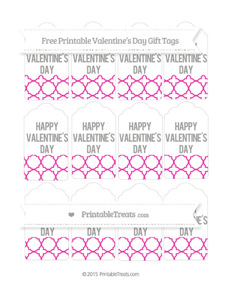 Free Hot Pink Quatrefoil Pattern Valentine's Day Gift Tags