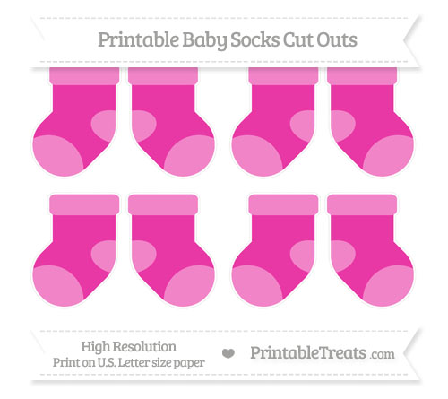 Free Hot Pink Small Baby Socks Cut Outs