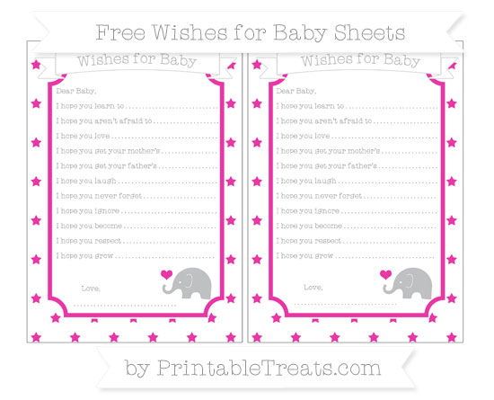 Free Hot Pink Star Pattern Baby Elephant Wishes for Baby Sheets