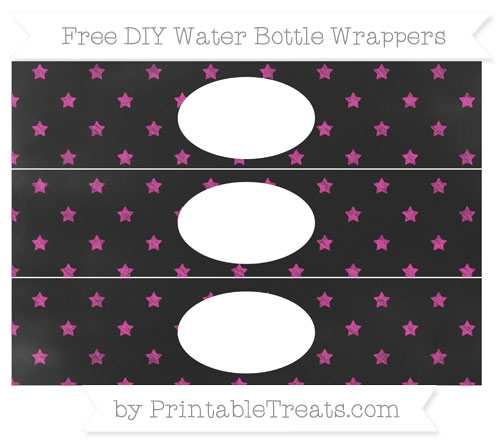 Free Hot Pink Star Pattern Chalk Style DIY Water Bottle Wrappers