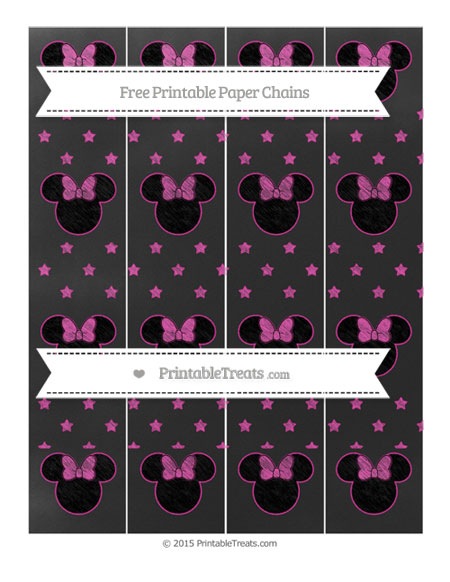 Free Hot Pink Star Pattern Chalk Style Minnie Mouse Paper Chains