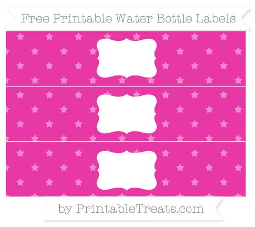 Free Hot Pink Star Pattern Water Bottle Labels