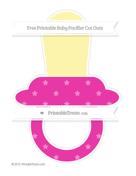 Free Hot Pink Star Pattern Extra Large Baby Pacifier Cut Outs