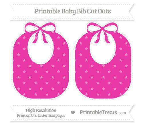 Free Hot Pink Star Pattern Large Baby Bib Cut Outs